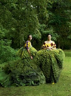 John Galliano's haute couture topiary gowns for Dior transform models Caroline Trentini and Gemma Ward. Photographed by Steven Meisel, Vogue, December 2006.