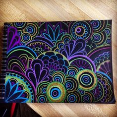 Black paper with prisma colored pencils doodle drawings, drawings on black Doodle Drawings, Doodle Art, Drawings On Black Paper, Pencil Drawings, Drawing Sketches, Mandala Art, Arte Fashion, Posca Art, Zentangle Patterns