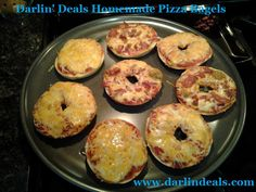 Super Easy Homemade Pizza Bagels! *Click on photo for instructions :) http://www.darlindeals.com/2013/04/homemade-pizza-bagels-super-easy-dinner.html/