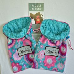 Coral Reef Saddle Savers with teal printed fabric lining