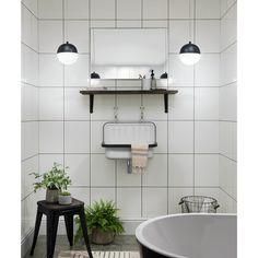 White Tiles Black Grout, Large White Tiles, White Wall Tiles, Small Tiles, Grey Grout Bathroom, Large Tile Bathroom, Bathroom Wall, Bathroom Ideas, Downstairs Bathroom