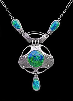 This is not contemporary - image from a gallery of vintage and/or antique objects. MURRLE BENNETT & CO Jugendstil Necklace Silver Enamel