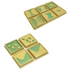 Two sets of plastic Montessori trays, the top set with complementary Lake - Island, Gulf - Peninsula, and Strait - Isthmus forms; the lower set with complementary System of Lakes - Archipelago and Bay - Cape forms Montessori Trays, Shadow Images, Blue Food Coloring, Plastic Trays, Archipelago, Little Ones, Landing, Lakes, Island
