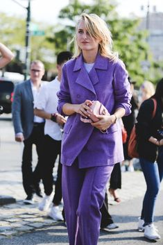 Purple isn't fashion's favorite color — until now. #refinery29 http://www.refinery29.com/2016/09/120553/nyfw-spring-2017-best-street-style-outfits#slide-110