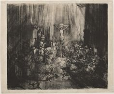Rembrandt van Rijn, Christ Crucified Between Two Thieves (The Three Crosses), 1653–55 Drypoint with burin on cream laid paper Jansma Collection, Grand Rapids Art Museum, 2007.11