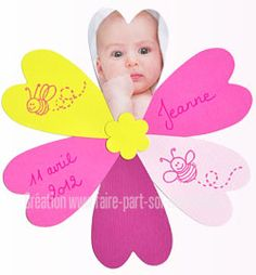 Faire-part naissance Fleur de Bébé Scrap, Amelia, Diy, Christening, Baby Frame, Flower, Cards, Bebe, Do It Yourself