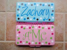 personalized baby wipes travel case- I could make these and we have hundreds of those wipes cases floating arkund.