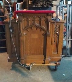 Antique-Oak-Gothic-Church-Pulpit-Lectern-From-United-Methodist-in-Narberth-PA