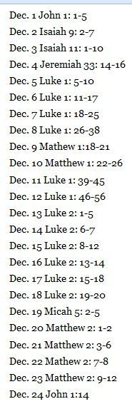 Advent Christmas (count down) Bible Verses to read.  From December 1st to Christmas Eve.