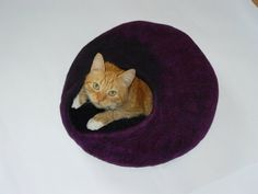 Handmade felt cat cave which is already made and ready to ship and gift - felted toy for your cat.