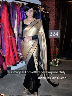 Nidhi Fashiongolden Black Silk Georgette Embrodairy Designer Saree Bollywood Sarees Online on Shimply.com