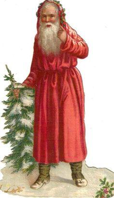 Victorian Scrap Santa & Christmas Tree Die Cut c1880