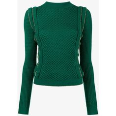 Philosophy Di Lorenzo Serafini Ruffled Waffle-Knit Sweater ($370) ❤ liked on Polyvore featuring tops, sweaters, green, frilled top, waffle knit top, ruffled sweaters, flutter-sleeve tops and waffle knit sweater