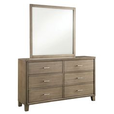This contemporary six-drawer Sunjan dresser is topped with a square framed mirror, both finished in an eye-catching weathered elm finish. Chrome pulls offer easy access to the spacious and sturdily built drawers.