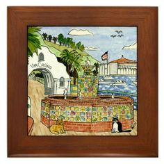"Via Casino, Catalina Island Framed Tile by CafePress by CafePress. $15.00. Frame measures 6"" X 6"" x 0.5"" with 4.25"" X 4.25"" tile. Rounded edges. Quality construction frame constructed of stained Cherrywood. Two holes for wall mounting. 100% satisfaction guarantee return policy. Reproduction of original hand-painted tile, Via Casino, Avalon, Catalina Island with two cats"