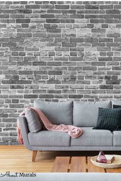 Black and White Brick Wallpaper is a photo mural of a realistic looking gray brick wall. It looks stunning in a living room, bedroom, office or kitchen. The unique photographic process creates a high resolution image that captures all the texture in the grey brick wallpaper. It's easy to hang, so perfect for DIY enthusiasts! It's also removable when you're ready to redecorate. White Brick Wallpaper, Grey Brick, Photo Mural, Bedroom Office, It's Easy, Wall Murals, Texture, Black And White, Gray