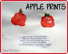 Apple or tomato hand prints Holiday Crafts For Kids, Fall Crafts, Diy For Kids, Fall Preschool, Preschool Crafts, Kids Crafts, Preschool Teachers, Preschool Curriculum, Kindergarten
