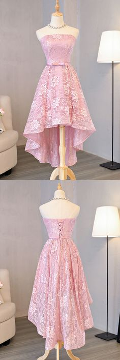 Princess Pink Lace Homecoming Dress,Hi-Low Short Prom Dress