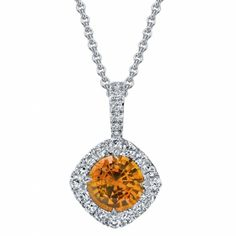 Omi Prive: Spessartite Garnet and Diamond Pendant Style: PS1150C-SGRD