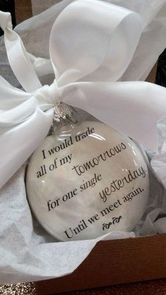 Items similar to Spouse Memorial Ornament- In Memory of - Christmas Ornament- Trade All of My Tomorrows- Loss of Husband Gift- Loss of Wife - Child Sympathy on Etsy Christmas Balls, Christmas Crafts, Christmas Decorations, Xmas, Christmas Ornaments, Christmas 2019, Christmas Presents, Christmas Ideas, Diy Ornaments