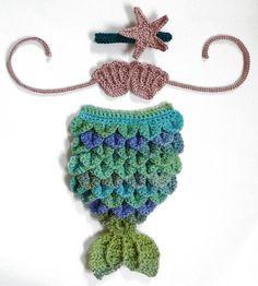 Baby Girl Outfit Mermaid Costume Newborn Photo Prop Crochet Baby Shower Gift Newborn Photography Prop Pink Starfish Headband 0 to 3 Months via Etsy
