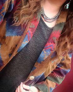 Vintage at its best. Southwest, Navajo jacket by Jones New York.  #navajopearls #navajojewelry  #luckythriftfind #southwest #jonesnewyork #turquoisejewelry #westernfashion #cowgirlfashion  #westernwear  #farmerswife
