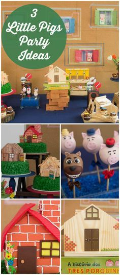 Here's a cute birthday party featuring the Three Little Pigs! See more party ideas at CatchMyParty.com!
