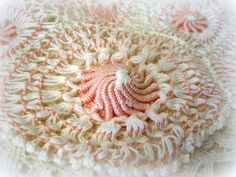 vintage teneriffe doily runner . unUsual by UnfinishedBusiness (Home & Living, vintage, doily, vintage linens, handmade runner, made by hand, teneriffe doily, teneriffe runner, pink and white, peachy pink, bullion rounds, perle cotton, cotton doily, unfinishedbusiness)