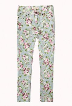 Floral Print Skinny Jeans | FOREVER 21 - for girls so cute!