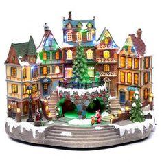 Paisaje navideño musical con luces 30x40x25 cm