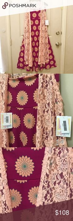 """Peach Love : 2 pc Lularoe Outfit 1️⃣BNWT Lularoe Joy lace vest (XS)  ✳Beautiful and elegant long lace vest. Peach Joy vest from Lularoe. The lace has stretch due to spandex making it very comfortable and giving.  ✅Material : stretchy lace material (60% nylon + 30% polyester+ 10% spandex)  2️⃣BNWT Lularoe Maxi skirt (XS)  ✳️Pretty pink maxi skirt with peach colored geometric floral design outlined in mint green!  ✅Material: commonly referred to as """"slinky material""""  96% polyester+ 4% spandex…"""