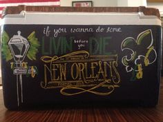 New Orleans NOLA , away formal, if you wanna do some livin' living before you die, do it down in new orleans quote mardi gras bourbon street cooler The details are so crisp and contrasting! ~cooler connection on facebook