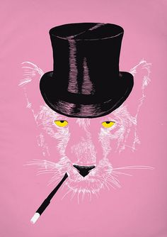 Pink panther in a top hat.