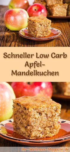 Fast, juicy low carb apple-almond cake - recipe without .- Schneller, saftiger Low Carb Apfel-Mandelkuchen – Rezept ohne Zucker Recipe for a low-carb apple-almond cake: The low-carb, low-calorie cake is prepared without sugar and corn flour … - Paleo Dessert, Dessert Recipes For Kids, Healthy Dessert Recipes, Cake Recipes, Low Carb Sweets, Low Carb Desserts, Low Carb Recipes, Apple And Almond Cake, Almond Cakes