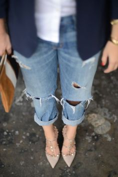 boyfriend jeans and studded heels |2013 Fashion High Heels|