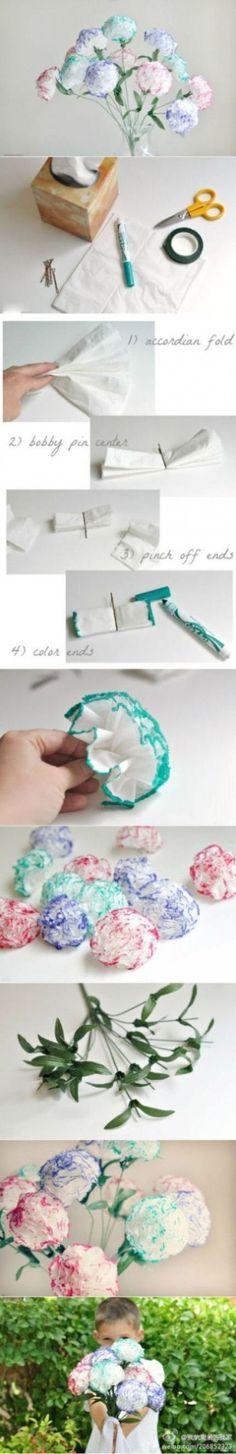 Leuk boeketje bloemen van zakdoekjes!