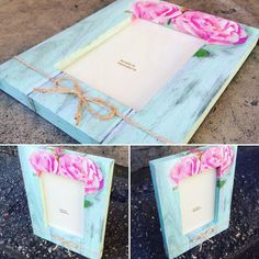 Wooden shabby chic photo frame floral mint by DumontsHandicrafts