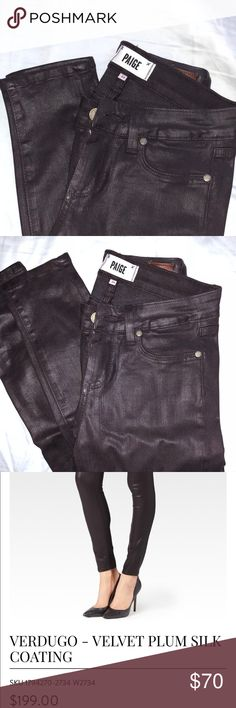 PAIGE Jeans with velvet plum silk coating Dark plum colored jeans with a slight shine. They are hardly worn and in very good shape !!  Verdugo Paige Jeans - skinny jeans with a velvet silk coating PAIGE Jeans Skinny
