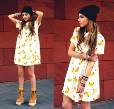 Bebe Zeva - Oasap Banana Print Dress, Romwe Timberland Inspired Platform Boots - B-a-n-a-n-a-s