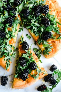 Focaccia with Blackberries, Mozzarella, Arugula