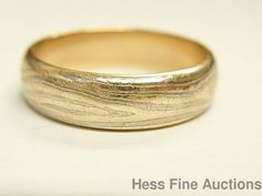 Huge Sz 13.5 14k Yellow Rose Gold Wide Mens Wedding Band w Silver Inlaid Strip #Band