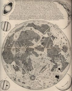 Eustachio Divini Map of the Moon, 1649 (late century reprint… Be Wolf, Planet Map, Celestial Map, Retro Poster, Stars And Moon, Picture Wall, Photo Wall, Wall Collage, Constellations