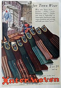 Men's Fashions, Vintage Print Ad. 30's Color Illustrations (Interwoven Socks) Original Rare 1938 Esquire Magazine Art