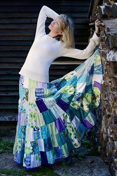 Cotton patchwork maxi skirt size xs/s in purple, turquoise, apple green and white colors