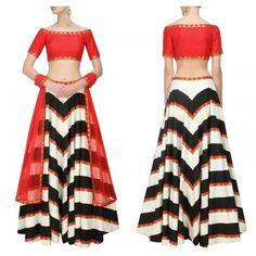 Bollywood Replica - Navratri Special Red & Ivory Embroidered Lehenga Choli…