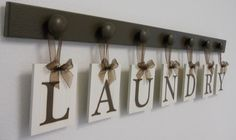 laundry room decor   Laundry Room Wall Decor Personalized Hanging Letters includes 7 Wooden ...