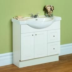34 Inch Eurostone Base With Sink - White Home Depot Canada