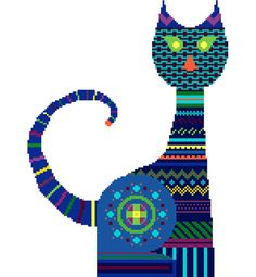 This cross stitch pattern of a very bright cat in a tribal style will look amazing anywhere you choose to display it! It will make a great picture or a lovely cushion cover and will certainly have everyone talking about it!  The colours used can be found throughout my shop but it's the brightness of the shades chosen and the contrast between the details and the background that lend it its almost neon quality. I promise you: this is really fun to stitch!  This listing is for the PDF cross…