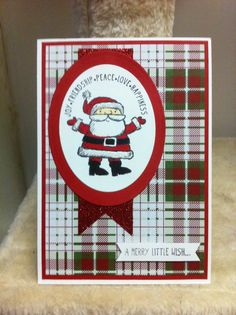 Stampin Up get your santa on stamp set. Trum the tree designer series paper stack, whisper white and real red A4 cardstock, dazzling diamonds glitter, red glimmer paper - all available from Stampin Up Holiday catalogue 2014. Ladymajik Creations.