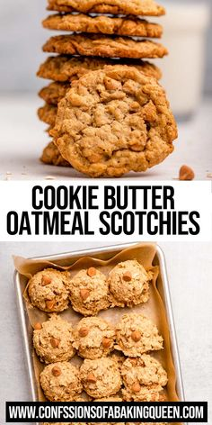 Cookie Butter Oatmeal Scotchies are filled with chewy oats, tasty cookie butter and delicious butterscotch chips you won't be able to put them down! Biscoff Cookie Butter, Chocolate Chip Shortbread Cookies, Butterscotch Cookies, Gooey Cookies, Spice Cookies, Yummy Cookies, Cupcake Cookies, Delicious Cookie Recipes, Best Cookie Recipes